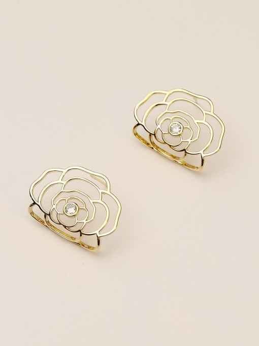 HYACINTH Brass Hollow Flower Cute Stud Earring 0