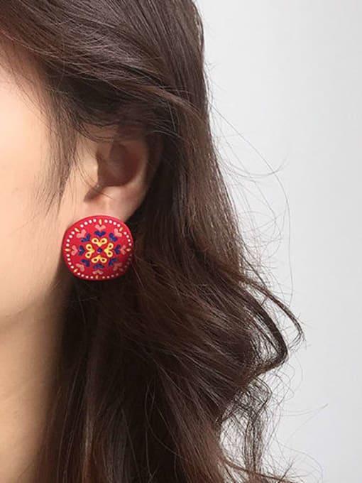 Five Color Alloy Enamel Heart Cute Round Stud Earring 1