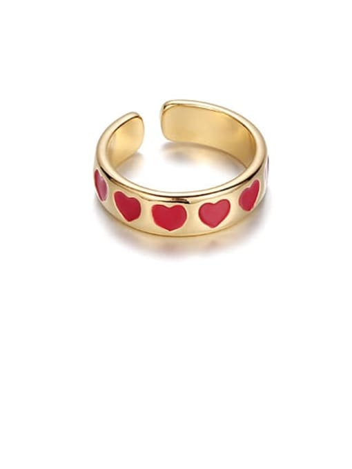 Red love Brass Enamel Star Minimalist Band Ring