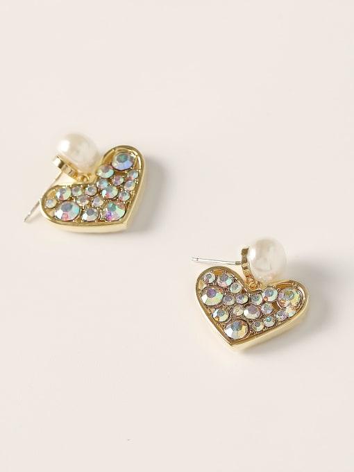 HYACINTH Brass Cubic Zirconia Heart Vintage Stud Earring 3