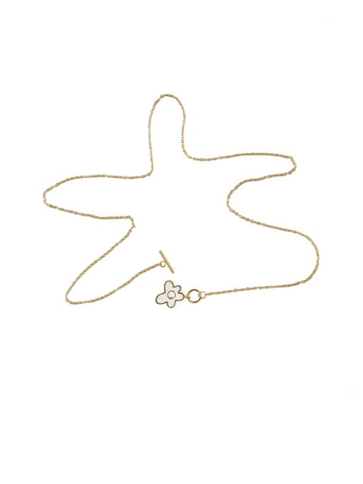ACCA Brass Shell Flower Minimalist Pendant Necklace 2
