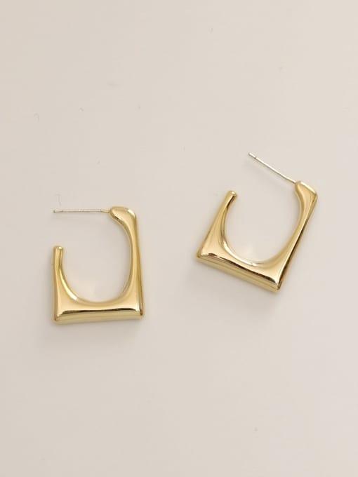 14k Gold Brass  Smooth Geometric Minimalist Stud Earring
