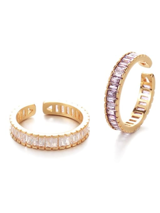 Five Color Brass Cubic Zirconia Geometric Vintage Band Ring 0