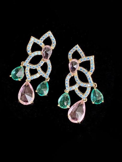 SUUTO Brass Cubic Zirconia Flower Luxury Drop Earring