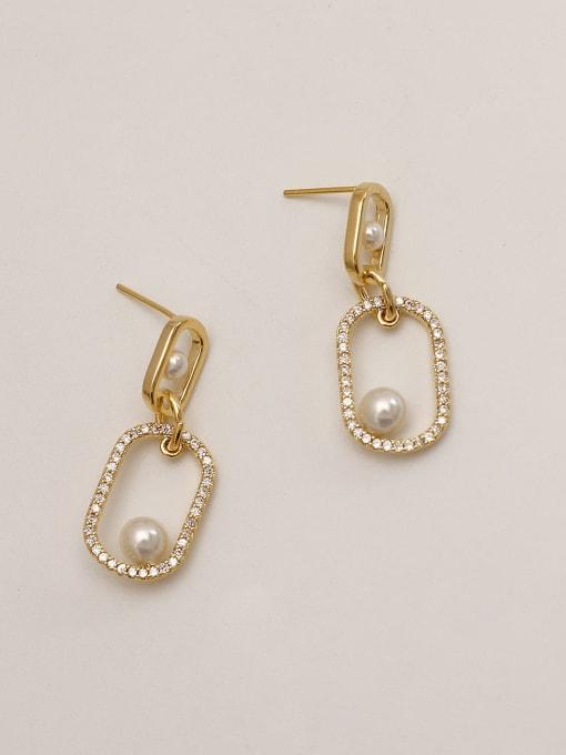 HYACINTH Brass Cubic Zirconia Geometric Minimalist Drop Earring 4