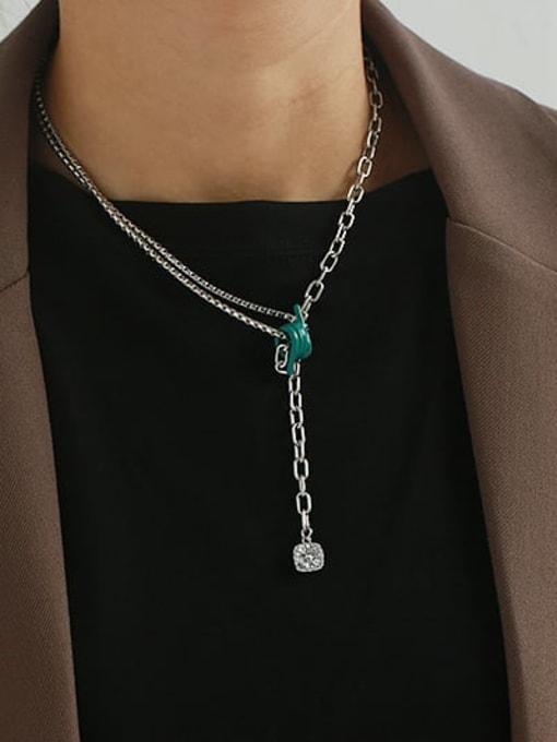 ACCA Brass Cubic Zirconia Tassel Vintage Tassel Necklace 1