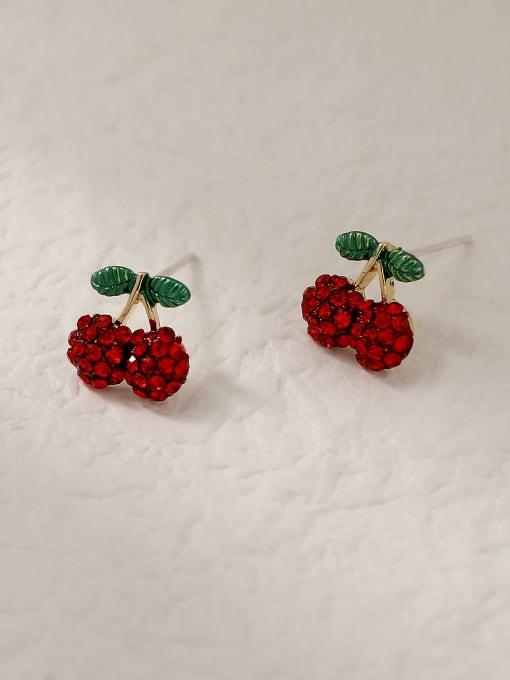 Cherry Brass Rhinestone Friut Cute Stud Trend Korean Fashion Earring