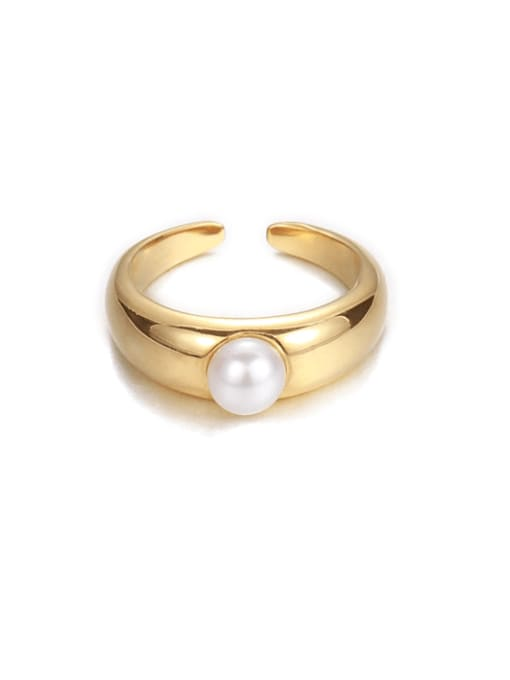 Five Color Brass Imitation Pearl Irregular Minimalist Band Ring 0