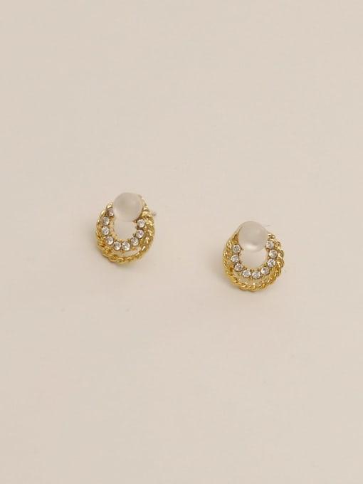 HYACINTH Brass Imitation Pearl Round Ethnic Stud Earring 4