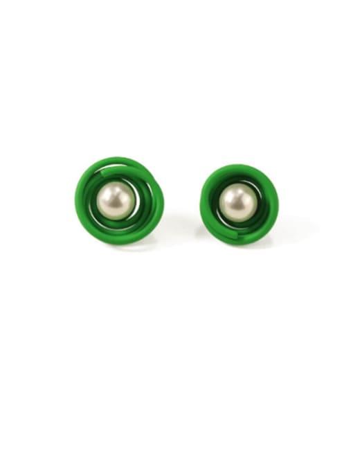 Green Alloy Imitation Pearl Enamel Geometric Cute Stud Earring