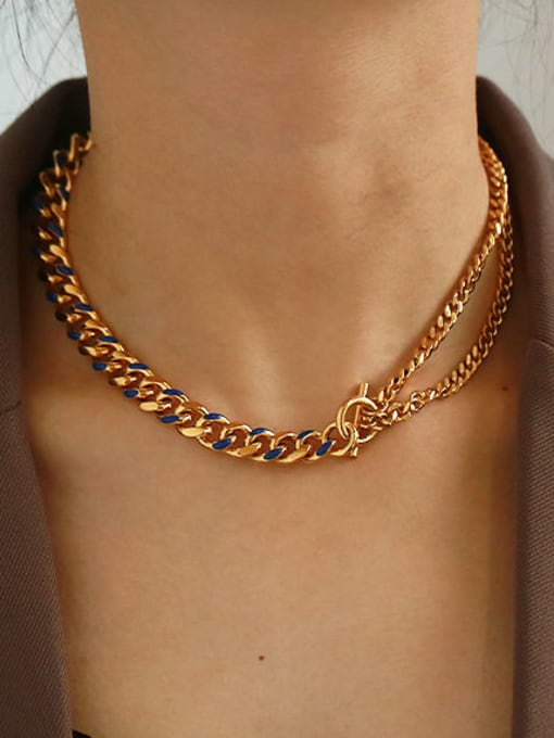 ACCA Brass Hollow Geometric  Chain Vintage Necklace
