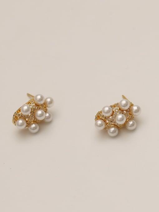 HYACINTH Brass Cubic Zirconia Geometric Dainty Stud Earring 1