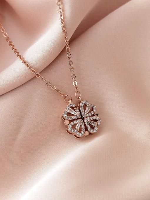 rose gold Brass Rhinestone Heart Minimalist Necklace