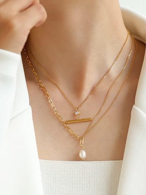 Five Color Brass Imitation Pearl Geometric Vintage Multi Strand Necklace 1