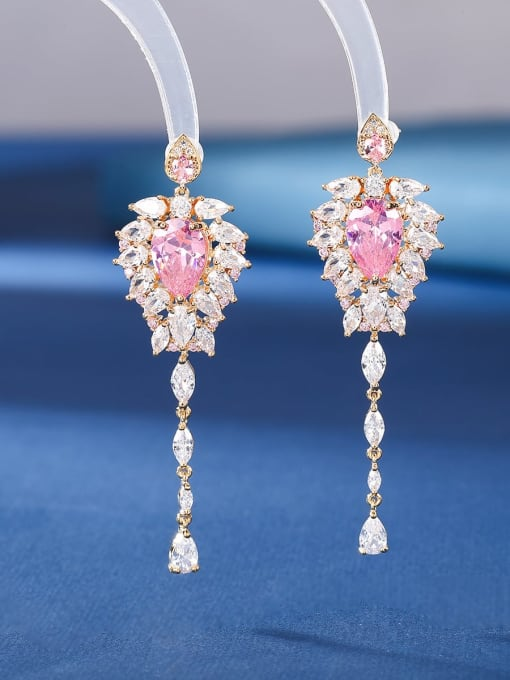 Pink Brass Cubic Zirconia Tassel Luxury Threader Earring