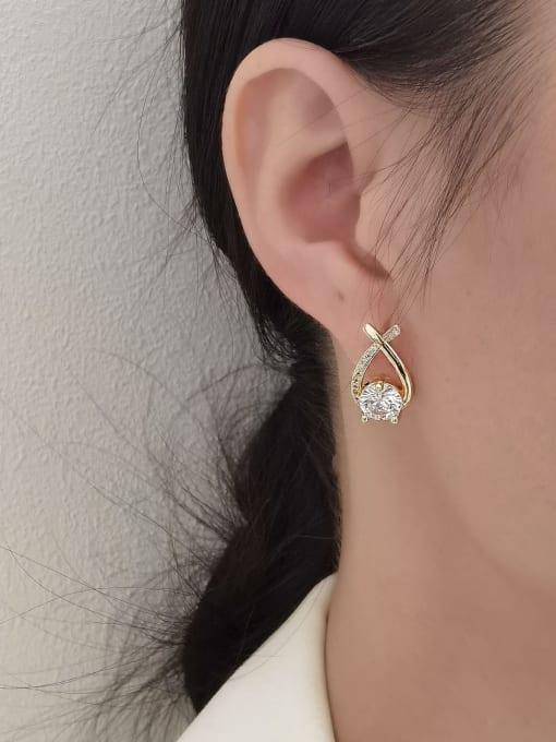 HYACINTH Brass Cubic Zirconia Heart Minimalist Stud Earring 1