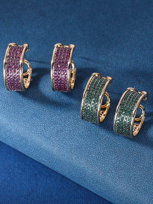 OUOU Brass Cubic Zirconia Geometric Luxury Stud Earring