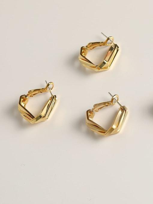 HYACINTH Brass Geometric Minimalist Huggie Earring 2