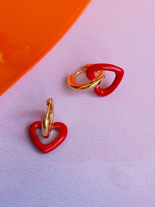 Five Color Brass Enamel Heart Minimalist Drop Earring 2