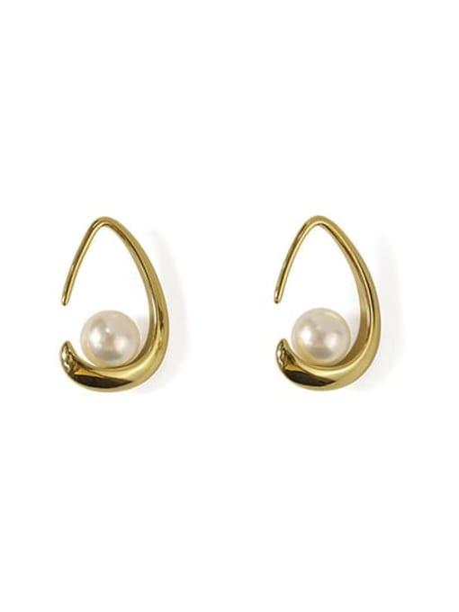 gold Brass Imitation Pearl Water Drop Minimalist Stud Earring