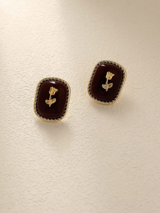 HYACINTH Brass Enamel Geometric Vintage Stud Trend Korean Fashion Earring