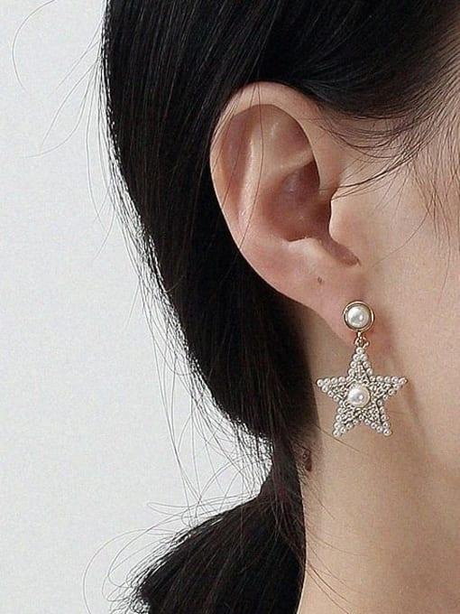 HYACINTH Brass Cubic Zirconia Star Vintage Stud Earring 2