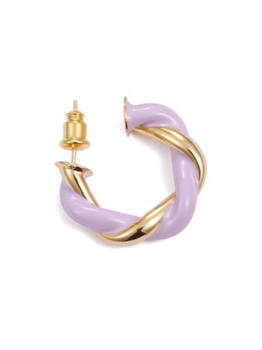Purple gold (single ) Brass Enamel Geometric Minimalist Single Earring