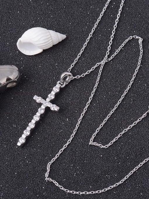 YILLIN Brass Cubic Zirconia Cross Dainty Regligious Necklace 1