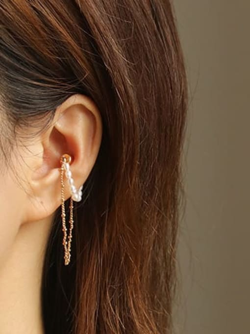 ACCA Brass Imitation Pearl Tassel Vintage Single Earring(ONLY ONE PCS) 3