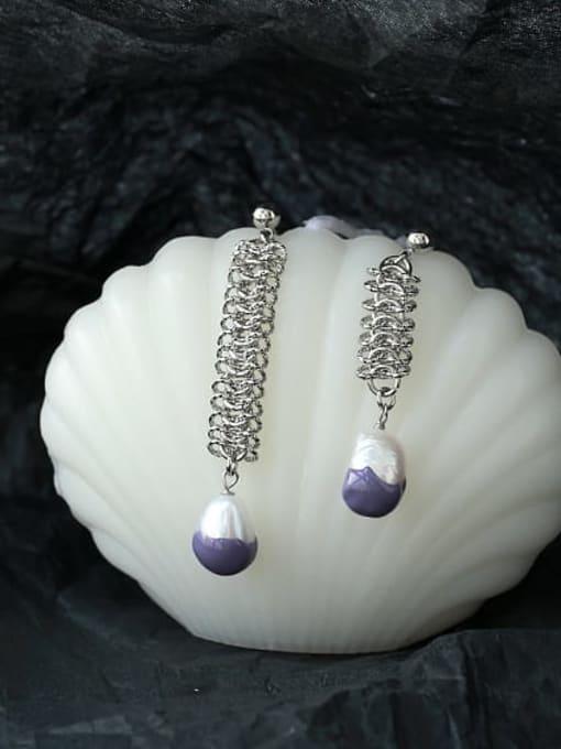 ACCA Brass Imitation Pearl Geometric Vintage Drop Earring 2
