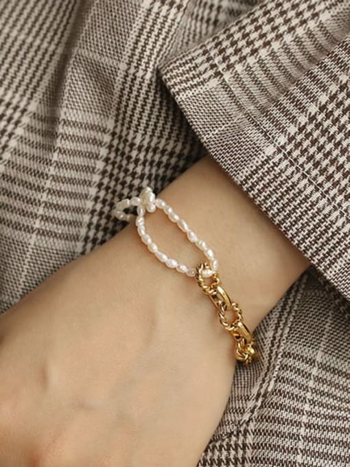 ACCA Brass Imitation Pearl Geometric Vintage Beaded Bracelet 1