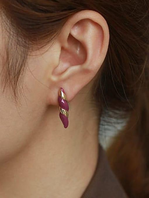ACCA Brass Enamel Geometric Vintage Stud Earring 1