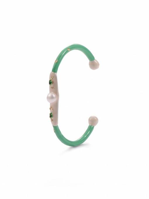 Five Color Zinc Alloy Enamel Geometric Minimalist Cuff Bangle