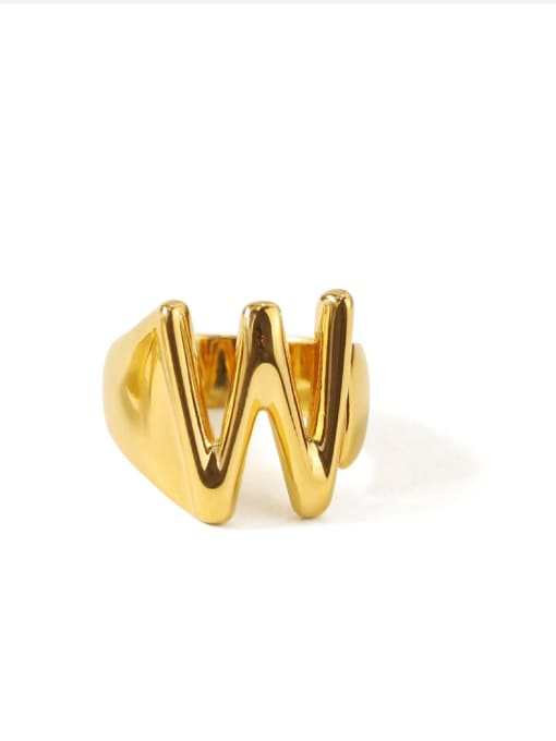 W Brass  26 Letter Vintage Band Ring