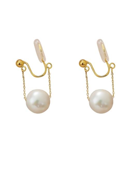 HYACINTH Brass Imitation Pearl Irregular Minimalist Clip Earring 0