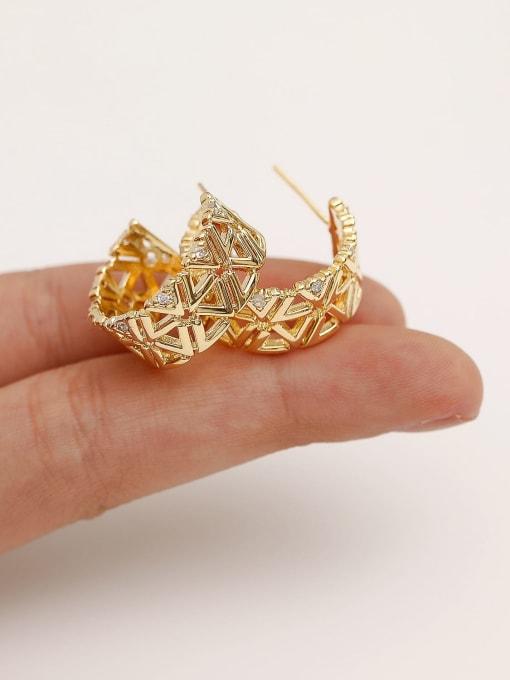 HYACINTH Brass Rhinestone  Hip Hop Hollow C-shaped  Stud Earring 0