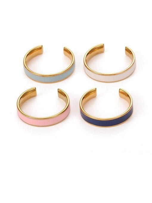 Five Color Brass Enamel Geometric Minimalist Band Ring 0