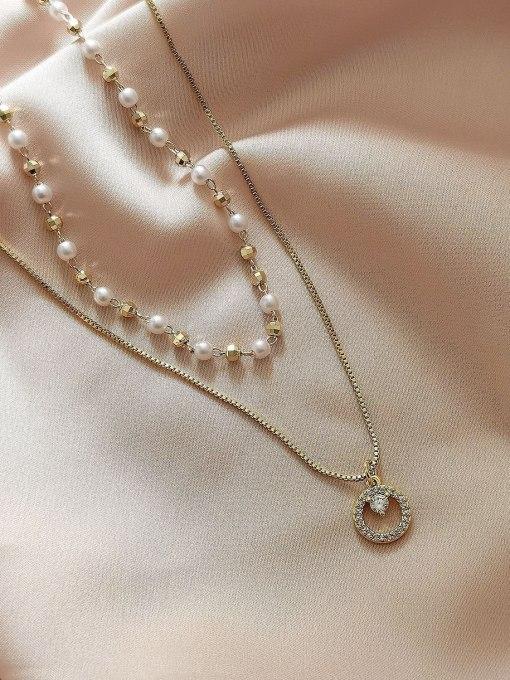 14k Gold Brass Imitation Pearl Geometric Minimalist Multi Strand Necklace