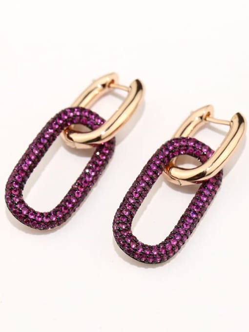 OUOU Brass Cubic Zirconia Geometric Hip Hop Stud Earring(Single ) 2