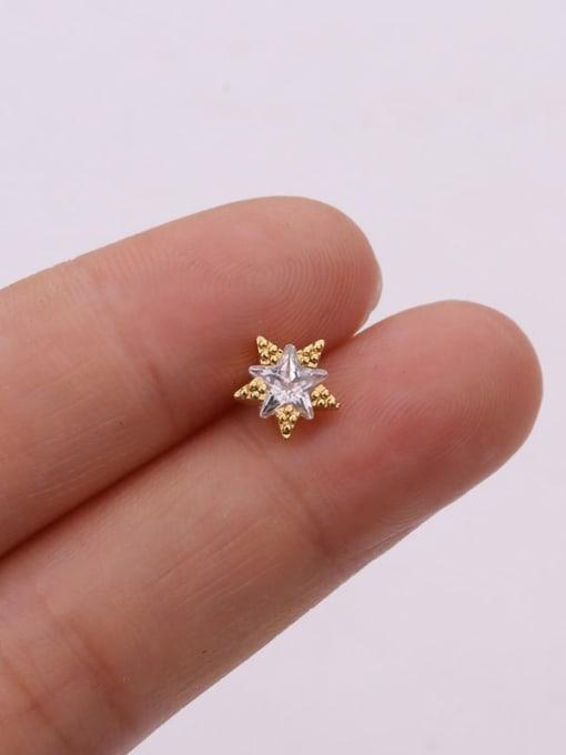 Gold 9#(single) Brass Cubic Zirconia Flower Cute Stud Earring (single)