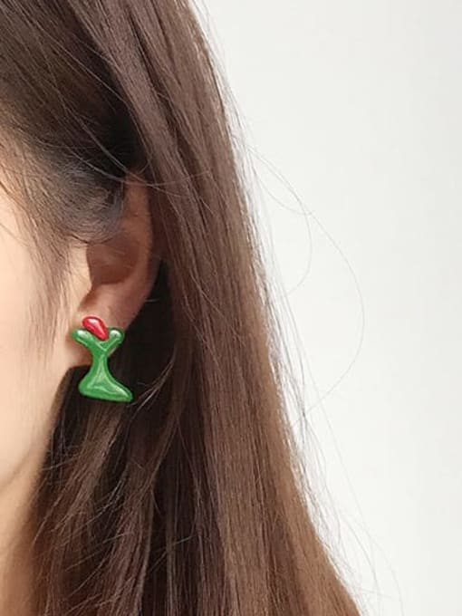 Five Color Alloy Enamel Cute Individuality abstract lines contrast color  Single Earring 1