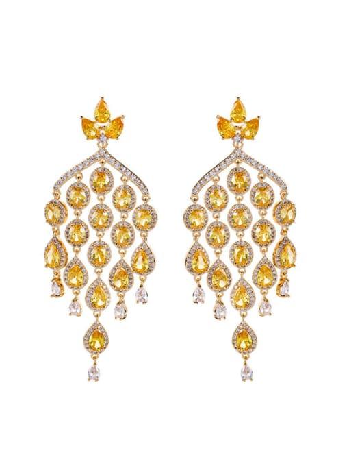OUOU Brass Cubic Zirconia Tassel Luxury Cluster Earring