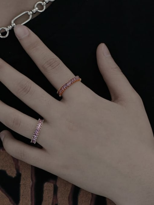 TINGS Brass Cubic Zirconia Geometric Vintage Band Ring 1