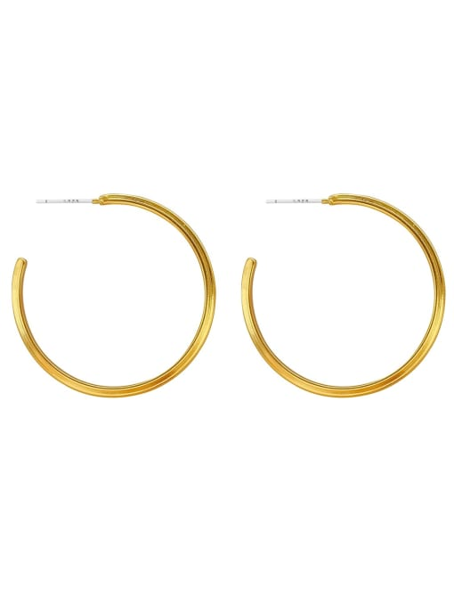 HYACINTH Brass Geometric Minimalist Hoop Earring 3