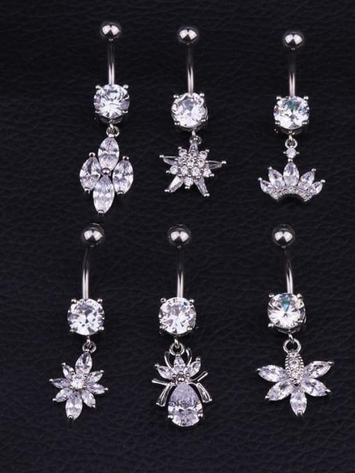 HISON Titanium Steel Cubic Zirconia Flower Hip Hop Belly Rings & Belly Bars 0
