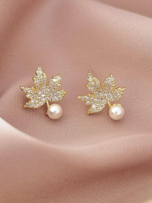 14k gold Brass Cubic Zirconia Leaf Vintage Stud Earring