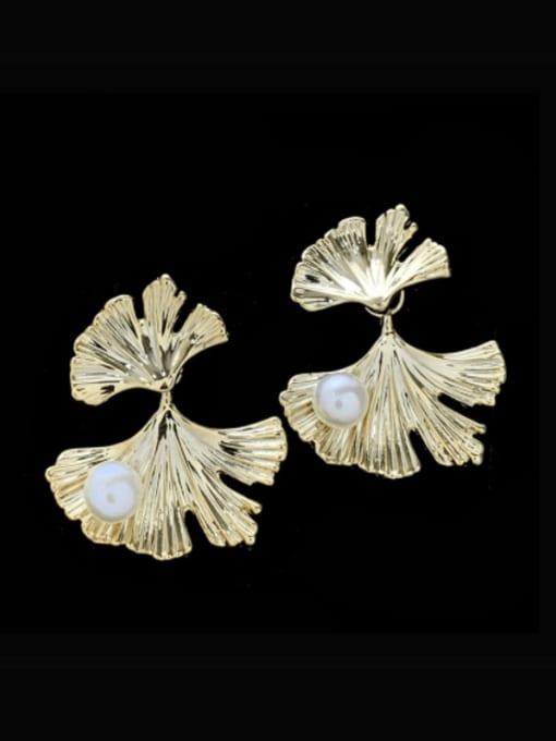 SUUTO Brass Imitation Pearl Leaf Vintage Stud Earring