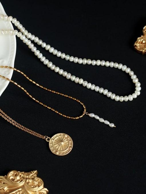 Five Color Brass Imitation Pearl Geometric Vintage Necklace 0