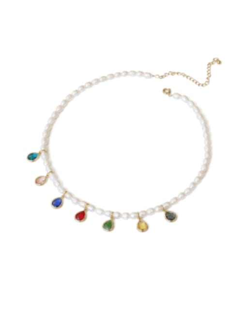 TINGS Brass Freshwater Pearl Water Drop Minimalist Necklace 1