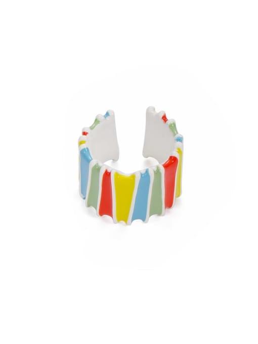 Rainbow Stripe Zinc Alloy Enamel Rainbow Minimalist Band Ring